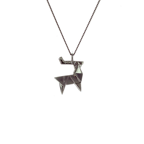 Black Silver Mini Deer Origami Necklace