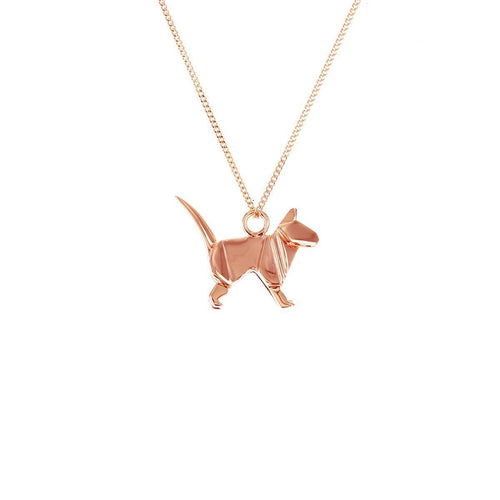 Sterling Silver & Pink Gold Mini Cat Origami Necklace