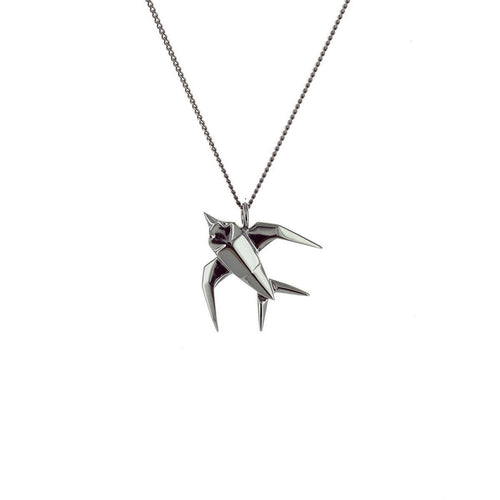 Black Silver Mini Swallow Origami Necklace