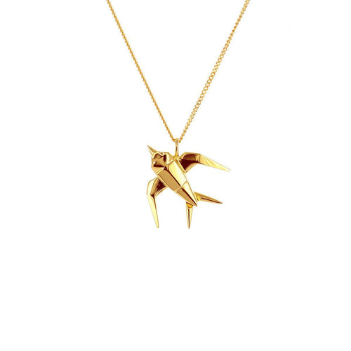 Sterling Silver & Gold Mini Swallow Origami Origami Necklace