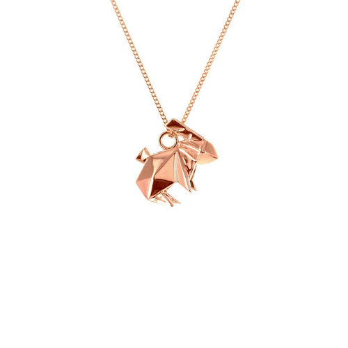 Sterling Silver & Pink Gold Mini Rabbit Origami Necklace