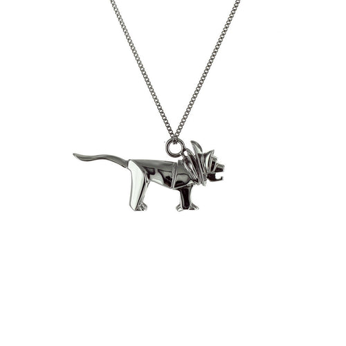 Black Silver Mini Lion Origami Necklace