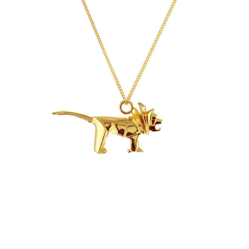 Sterling Silver & Gold Mini Lion Origami Necklace