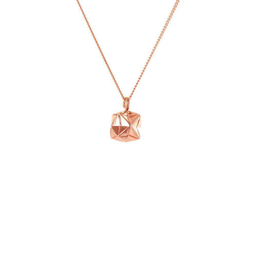 Sterling Silver & Pink Gold Mini Magic Ball Origami Necklace