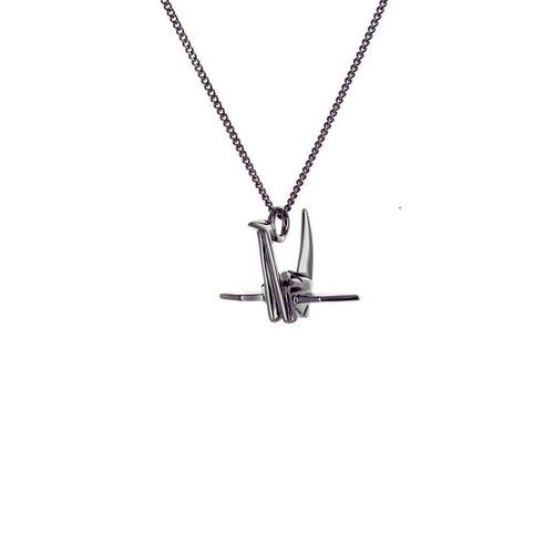 Black Silver Mini Crane Origami Necklace