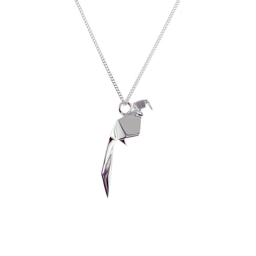 Sterling Silver Mini Parrot Origami Necklace