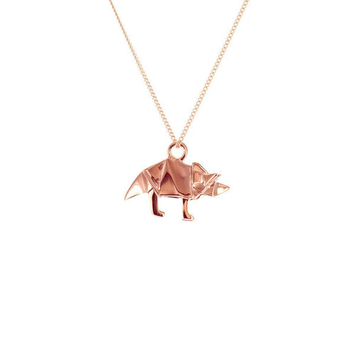 Sterling Silver & Pink Gold Mini Triceratop Origami Necklace