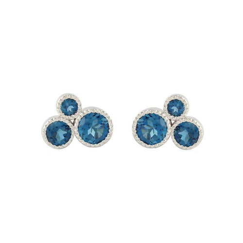 Blue Circle of Love Studs-Joely Rae Jewelry-JewelStreet US