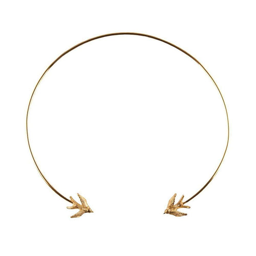 Gold Swallow torc necklace-Roz Buehrlen-JewelStreet US