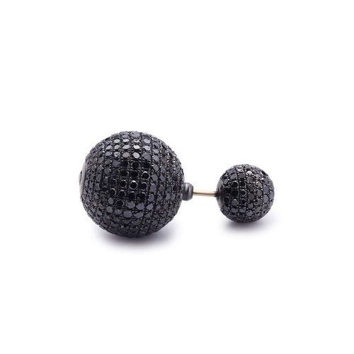 Black Diamond Ball Earring-Socheec-JewelStreet US