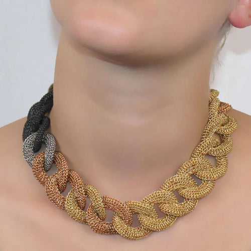 Goddess Ocean Link Twist Mixed 14kt Gold Filled Necklace-Tove Rygg-JewelStreet US