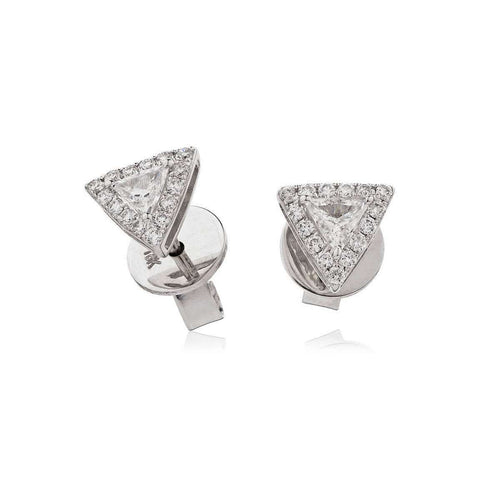 18kt White Gold Triangle Diamond Studs-Loushelou-JewelStreet US