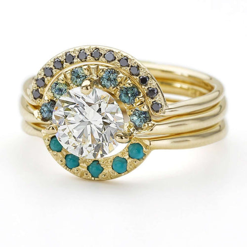 Boho Wedding Ring Set With Diamond Sapphire And Turquoise-ARTEMER-JewelStreet US