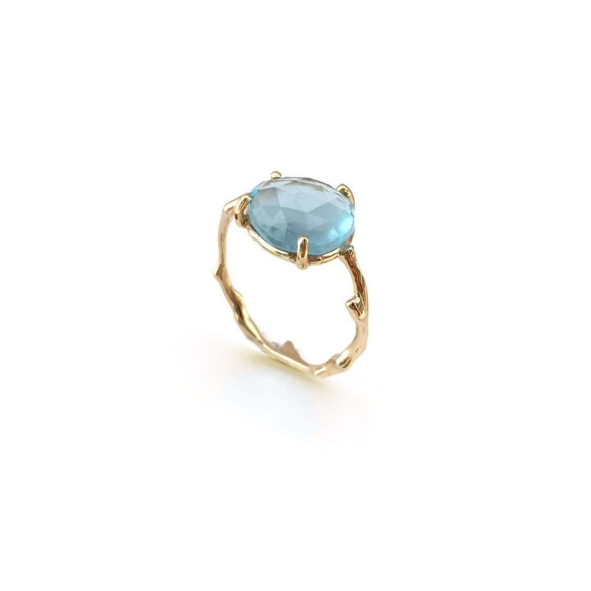 Twig Ring In Solid Gold With Freeform Rose Cut Blue Topaz