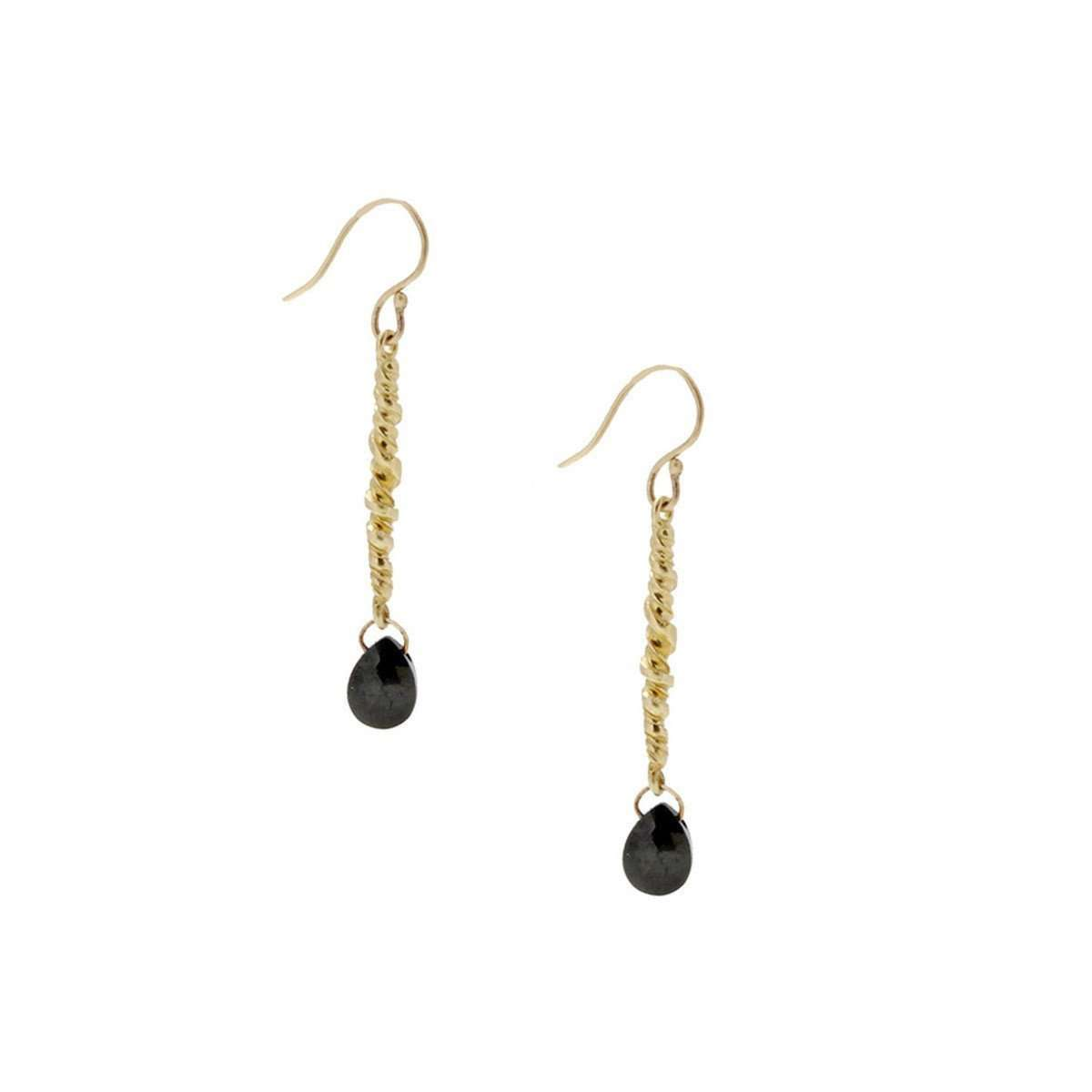 Dangle Twist Short With Jet-Lori Kaplan Jewelry-JewelStreet US