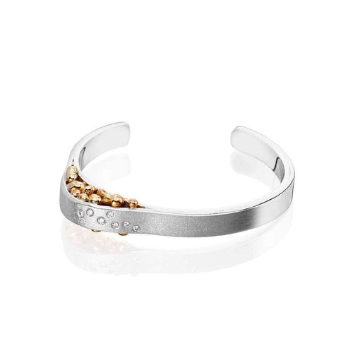 7 Diamond Sterling Silver & 18kt Yellow Gold Cuff Bangle-Charlotte Cornelius-JewelStreet US