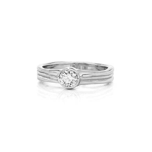 Waterfall Wedding/Engagement Ring White Gold-LJD Designs-JewelStreet US