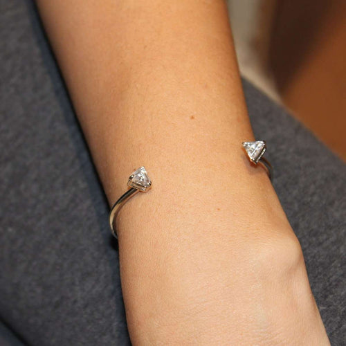 White Gold Triangle Bracelet-Isa Bagnoli-JewelStreet US