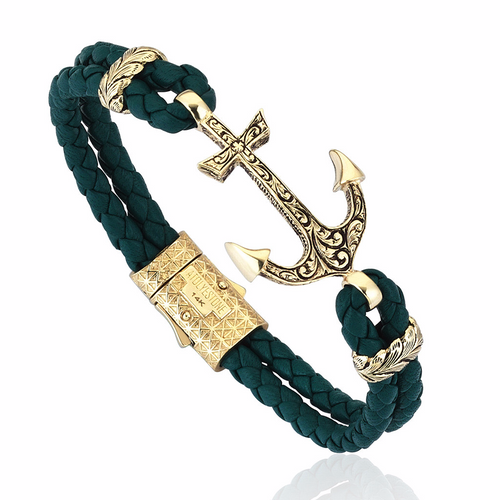 14k Solid Gold Classic Anchor Bracelet-Atolyestone London-JewelStreet US