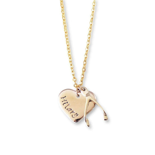 9kt Yellow Gold Personalised Lucky Necklace ,[product vendor],JewelStreet