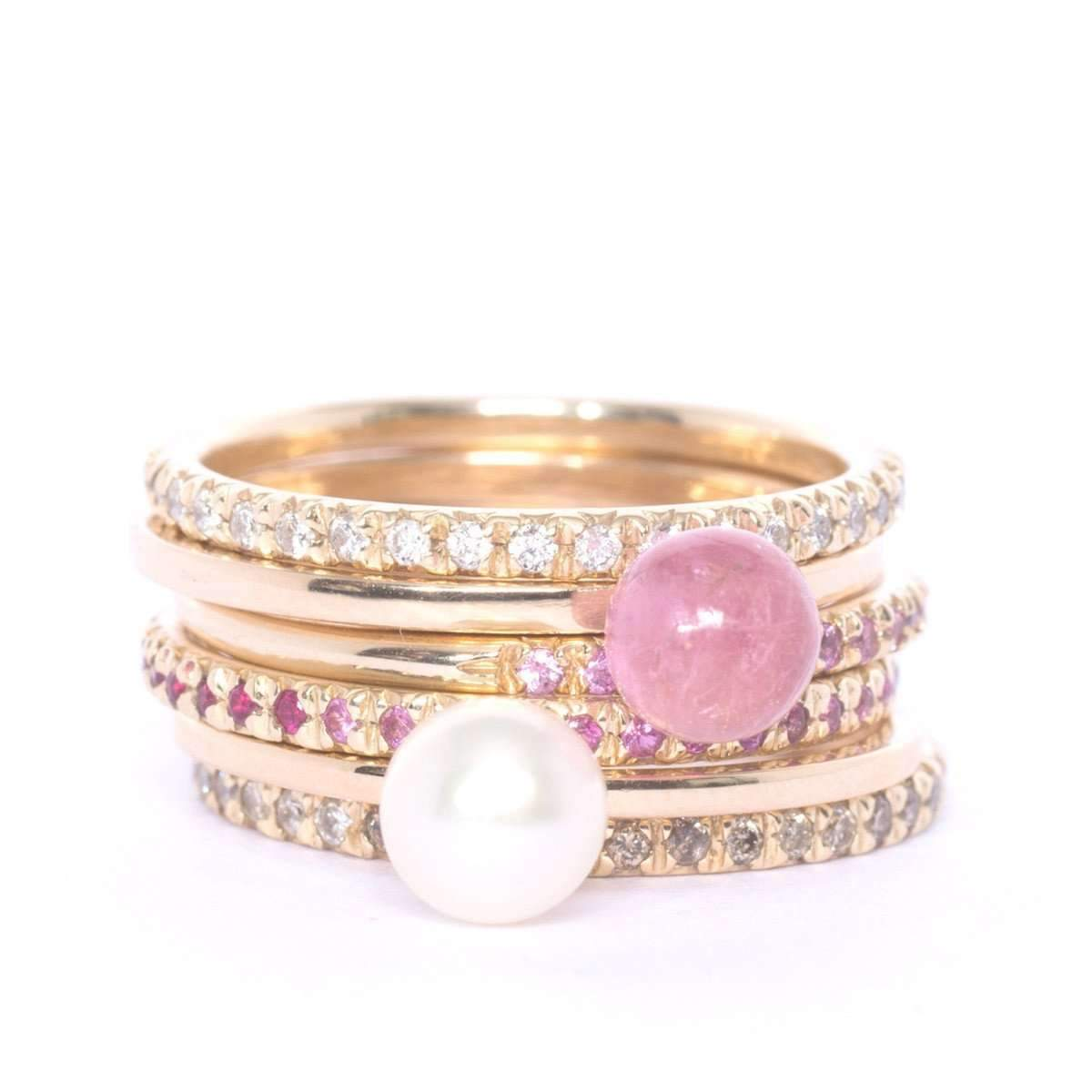 Gold & Pink Tourmaline Satellite Ring ,[product vendor],JewelStreet