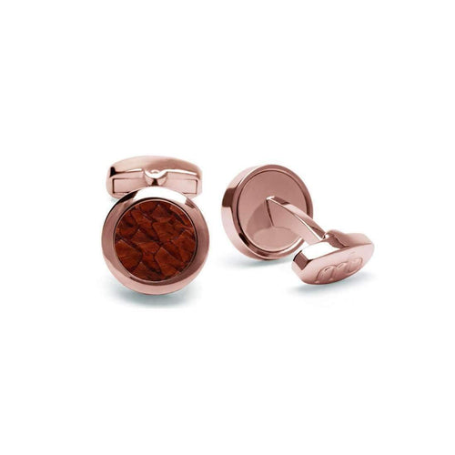 Atlantic Salmon Leather Cufflinks - Rose Gold Finished Stainless Steel With Cognac-Cufflinks-Marlin Birna-JewelStreet