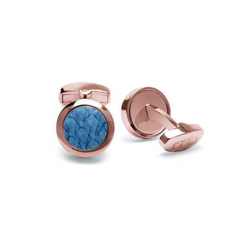 Atlantic Salmon Leather Cufflinks - Rose Gold Finished Stainless Steel With Light Blue-Cufflinks-Marlin Birna-JewelStreet