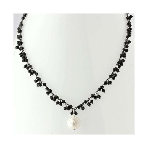 Black Spinel & Pearl Necklace-Elisa Ilana Jewelry-JewelStreet EU