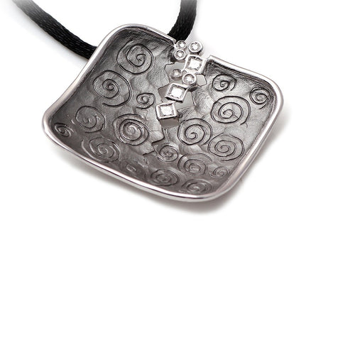 Black Rhodium & White Gold Spira Black Pendant