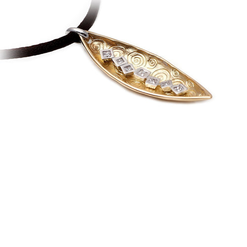 18kt Yellow Gold Spira Golden Leaf Pendant ,[product vendor],JewelStreet