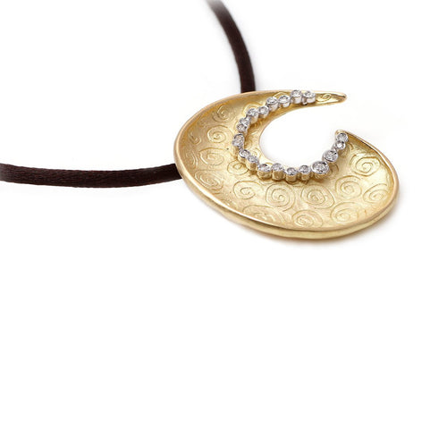18kt Yellow Gold Spira Half Moon Pendant ,[product vendor],JewelStreet