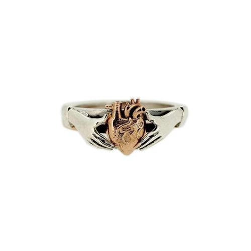Anatomical Heart And Claddagh Stack Rings-Rings-Metal Couture-JewelStreet