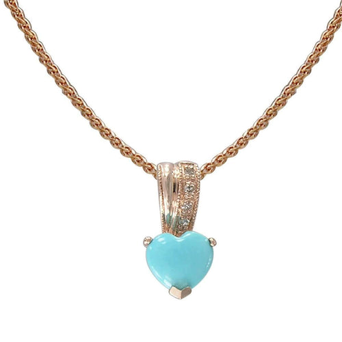 14kt Rose Gold Diamond And Turquoise Pendant - Heart