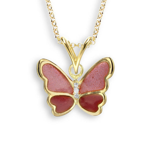 18kt Gold Pink Butterfly Necklace-Necklaces-Nicole Barr-JewelStreet
