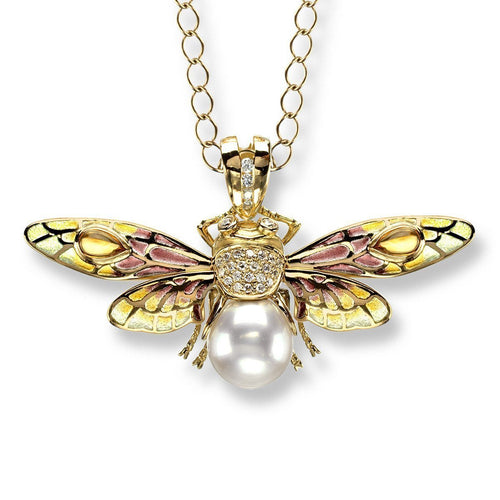 18kt Gold Bee Pendant-Necklaces-Nicole Barr-JewelStreet