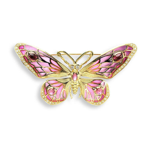 18kt Gold Butterfly Red Brooch-Brooches-Nicole Barr-JewelStreet