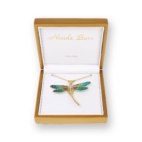 18kt Gold Dragonfly Turquoise Brooch-Brooches-Nicole Barr-JewelStreet