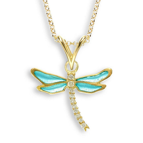 18kt Gold Dragonfly Turquoise Necklace-Necklaces-Nicole Barr-JewelStreet