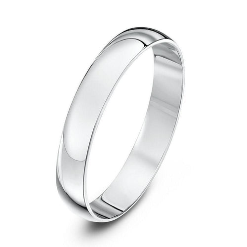 18kt White Gold D-Shape Wedding Ring ,[product vendor],JewelStreet