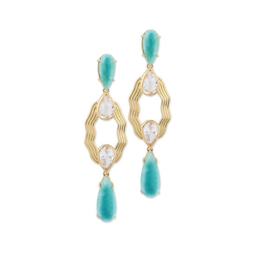 18kt Yellow Gold Earrings With Amazonite ,[product vendor],JewelStreet