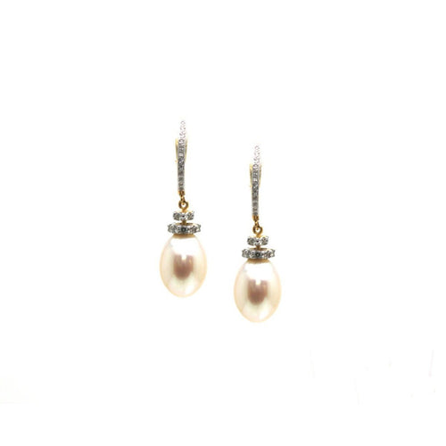 18kt Yellow Gold Earrings With Pearl and Diamond ,[product vendor],JewelStreet