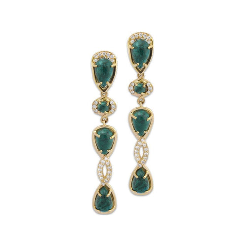 18kt Yellow Gold Earrings with Chrysocolla Tear and Diamond Drop ,[product vendor],JewelStreet