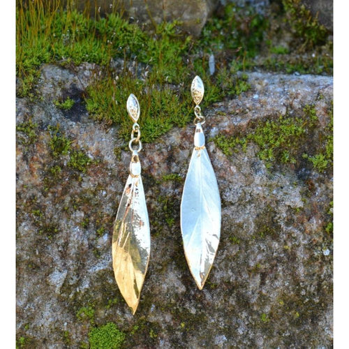 Bay Leaf Family's Leaf Earrings-Earrings-Amazona Secrets-JewelStreet