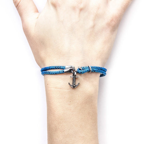 Blue Noir Brighton Silver And Rope Bracelet-Bracelets-Anchor and Crew-JewelStreet
