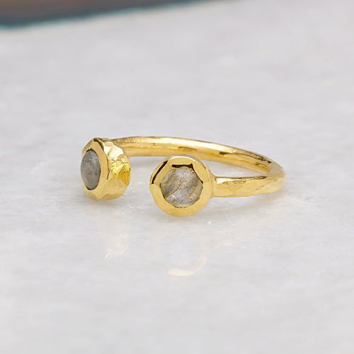Boho Open Labradorite Gold Ring-Rings-Sharon Mills London-JewelStreet