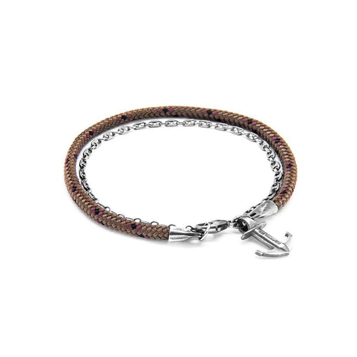 Brown Filey Silver And Rope Bracelet ,[product vendor],JewelStreet