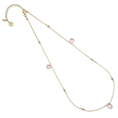 Cari 16-18 Inch Gold Vermeil Rose Quartz And Pearl Necklace ,[product vendor],JewelStreet