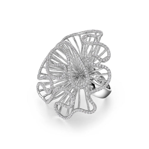 Cascade Large Ring In White Rhodium Plate-Rings-Fei Liu-JewelStreet