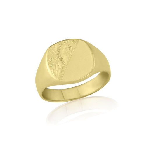 Cushion-shaped 9kt Yellow Gold Extra-Heavyweight Engraved Signet Ring ,[product vendor],JewelStreet