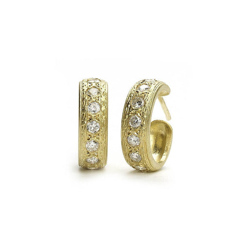 Engraved Gold and Diamond Hoop Earrings ,[product vendor],JewelStreet
